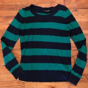 Forever 21 navy & green striped sweater, medium